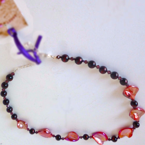 Red Mother of Pearl Glass Necklace