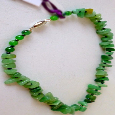 Green Jade Chips Necklace