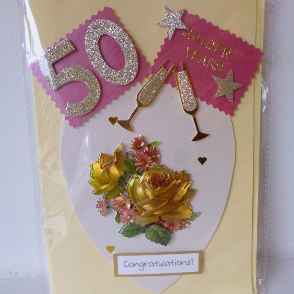 Golden 50th wedding anniversary greetings card the autism trust uk golden wedding greetings card m4hsunfo