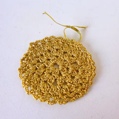 Gold Bauble Crochet Decoration