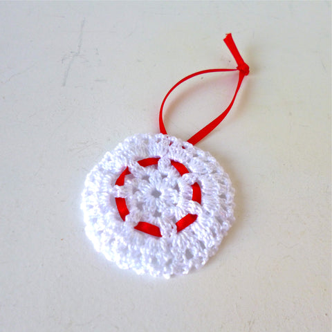 White with Red Ribbon Crochet Decoration