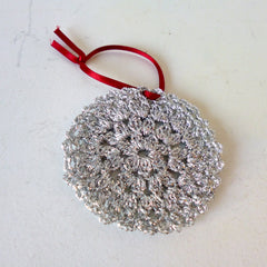 Silver Bauble Crochet Decoration