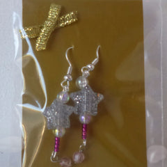 Earrings Bead Star Pink Hook Fasten