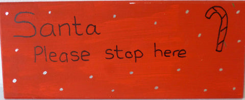 Wood Santa Sign Red