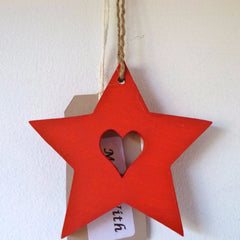 Wood Star Hanging Heart Red