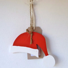 Wood Christmas Hanging Colour Red White Santa Hat