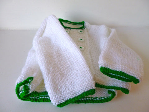 Baby Cardigan & Hat Set - White with Green Edging
