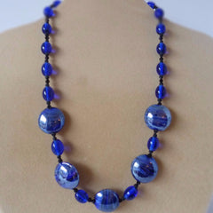Blue Italian Glass Circle Necklace