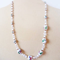 White Cloisonné Necklace