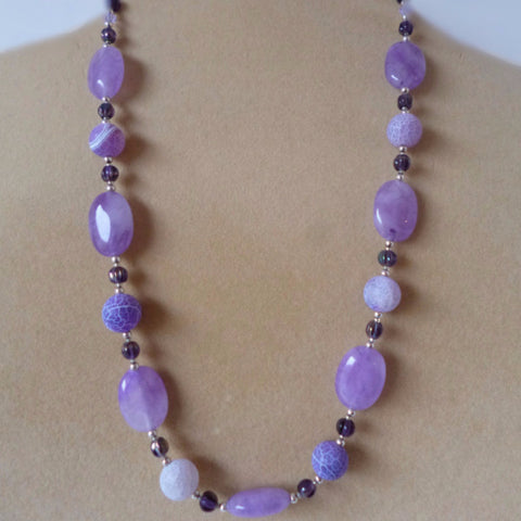 Amethyst Agate Glass Necklace