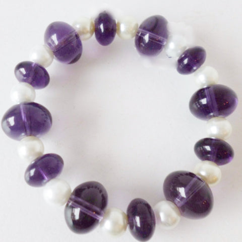 Purple Glass White Pearl Bracelet