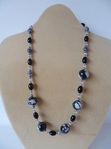 Grey Snowflake Obsidian Necklace