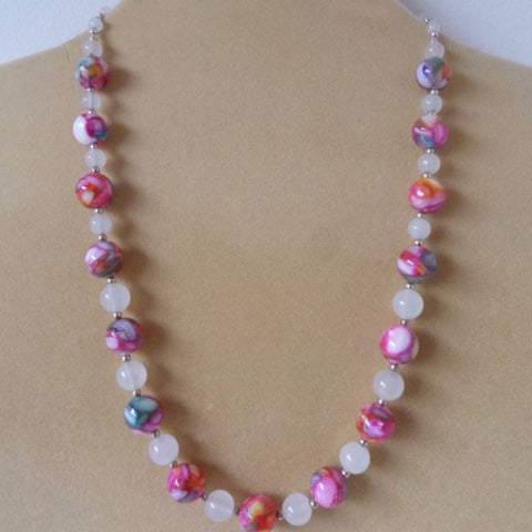Pink Glass White Jade Necklace