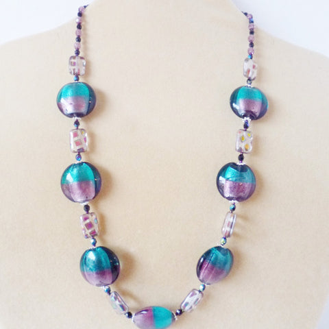 Purple Teal Foiled Glass Necklace