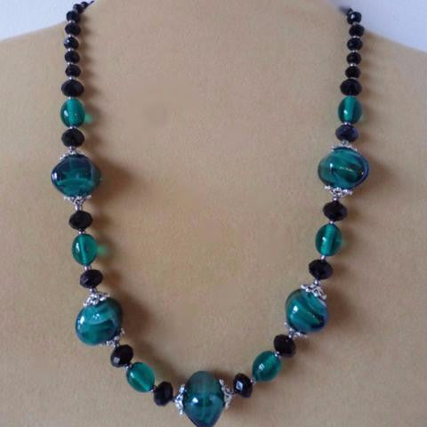 Teal Italian Glass Crystal Necklace