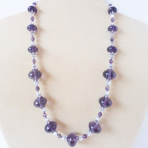 Purple Italian Glass Tibetan Silver Necklace