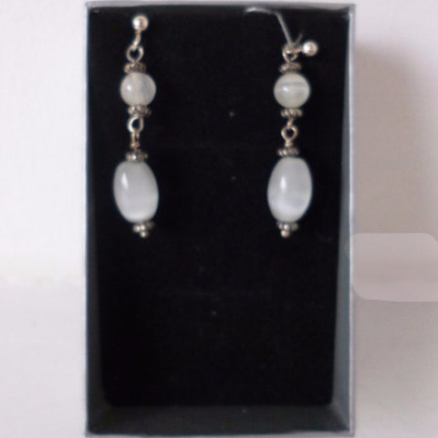 White Mexican Opal Earrings