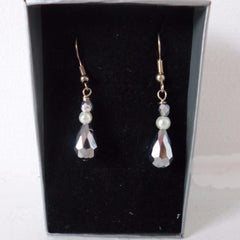 Silver Crystal Pearl Earrings