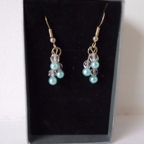 Turquoise Freshwater Pearl Clear Glass Earrings
