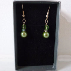 Green Pearl Silver Plate Earrings