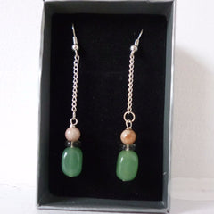 Green Jade Drop Earrings