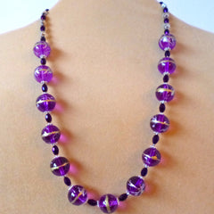 Purple Gold Glass Crystal Necklace