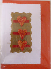 Red and Gold Three Heart Card