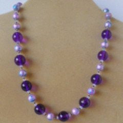Purple Glass Crystal Necklace