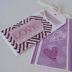Pack of Two Valentine Gift Tags Purple