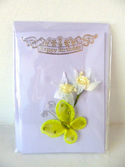 Happy Birthday Card Butterfly Flower Yellow