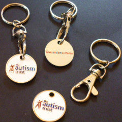 Trolley/Locker Coin Keyring - Give Autism A Chance Note(Old £1.00 coin style)