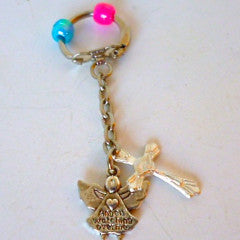 Keyring Angel Cross Blue Pink