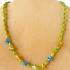 Necklace Bead Stars Green Chain Fasten