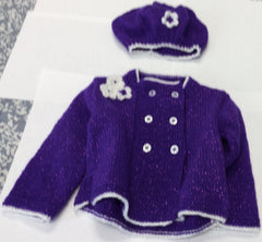 Cardigan Beret Set 9 to 12 Months 22 Inch Chest