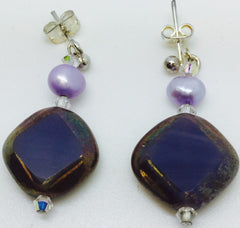 Purple Glass Silver Plate Earrings