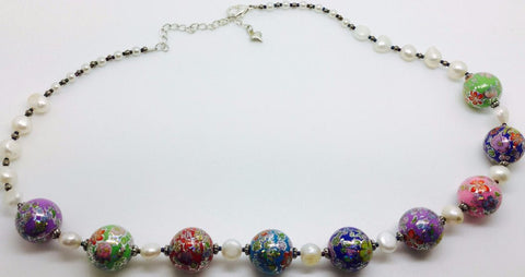 Colour Acrylic Freshwater Pearl Necklace