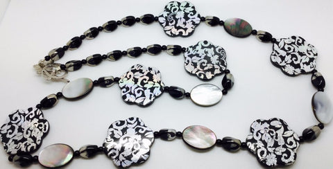 Silver Acrylic Black Lipped Shell Necklace