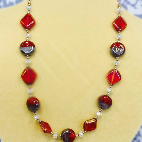 Red Grey Glass Bracelet Necklace