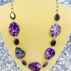 Purple Acrylic Glass Necklace (A189)
