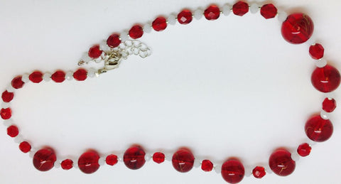 Red Glass Crystal Necklace