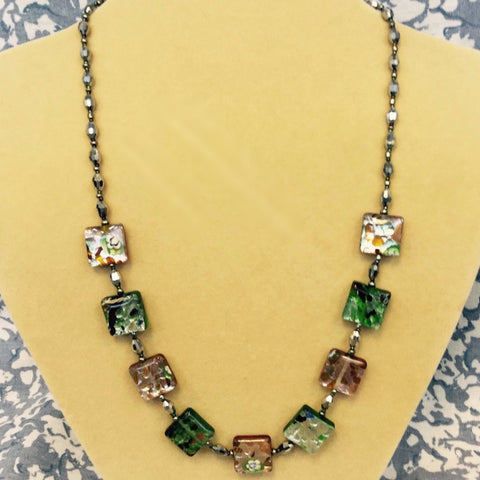 Green Foiled Glass Crystal Necklace