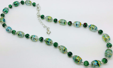 Green Yellow Glass Necklace