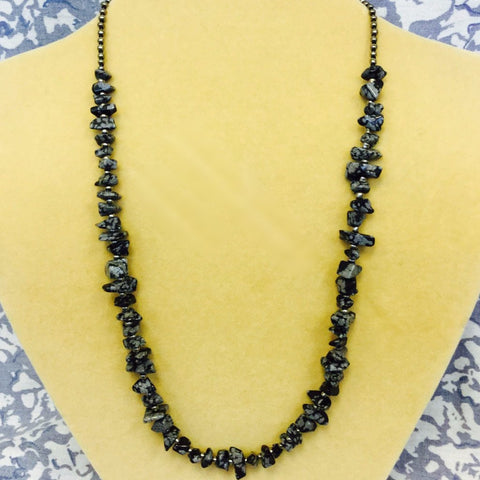 Black Grey Snowflake Obsidian Necklace