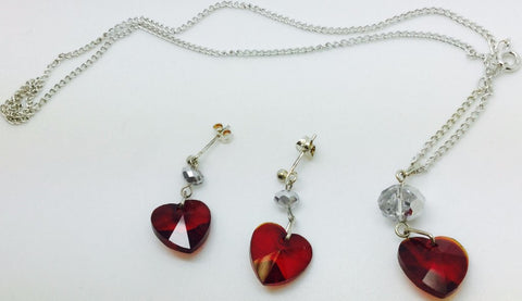 Red Crystal Heart Silver Plate Earrings Necklace