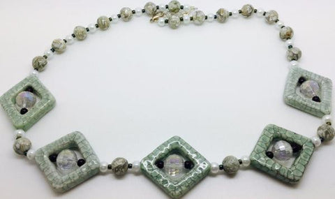 Green Ceramic Crystal Necklace