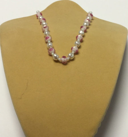Pink Glass Pearl Flower Necklace
