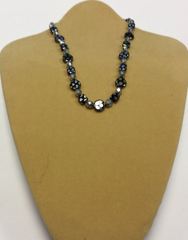 Black Silver Vacuum Plated Glass Necklace