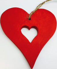 Wood Heart Hanging Heart Red