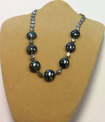 Green Silver Shell Glass Necklace