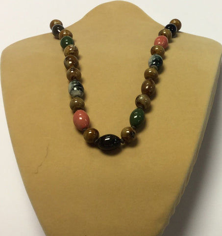 Earth Tone Ceramic Shell Necklace